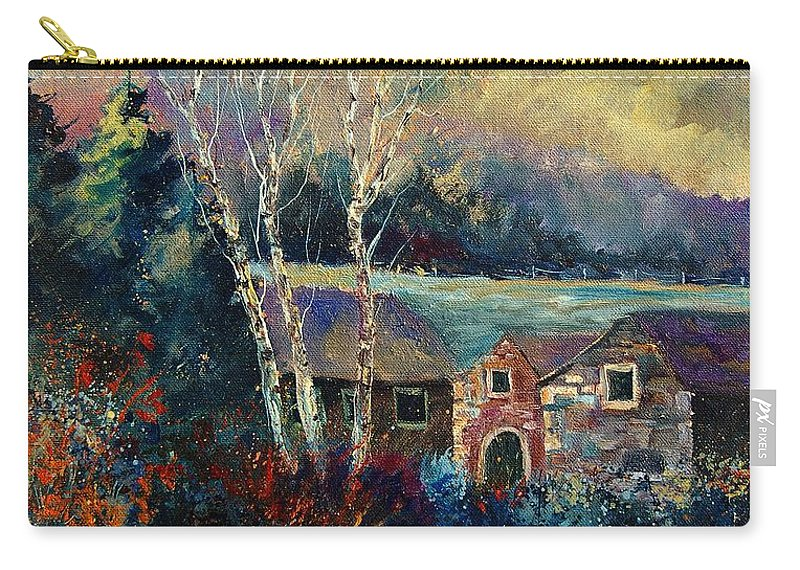 Village Carry-all Pouch featuring the painting Old Houses In Hour by Pol Ledent
