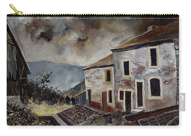 Tree Carry-all Pouch featuring the painting Old Houses by Pol Ledent