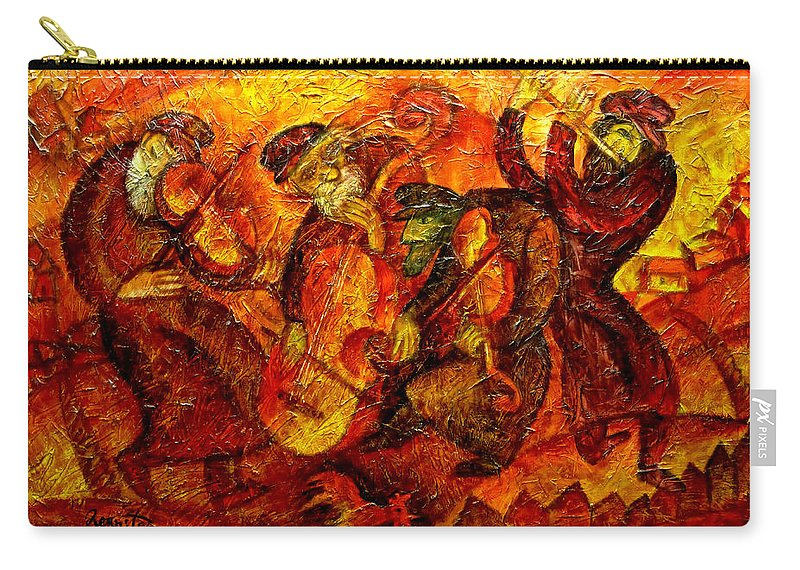 Jewish Music Carry-all Pouch featuring the painting Old Klezmer Band by Leon Zernitsky