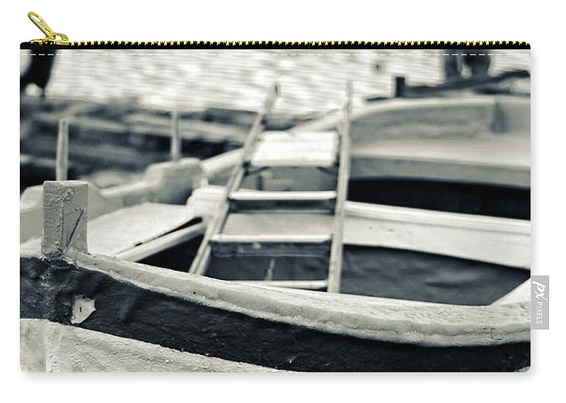 Boat Carry-all Pouch featuring the photograph Old Man And Boat by Silvia Ganora