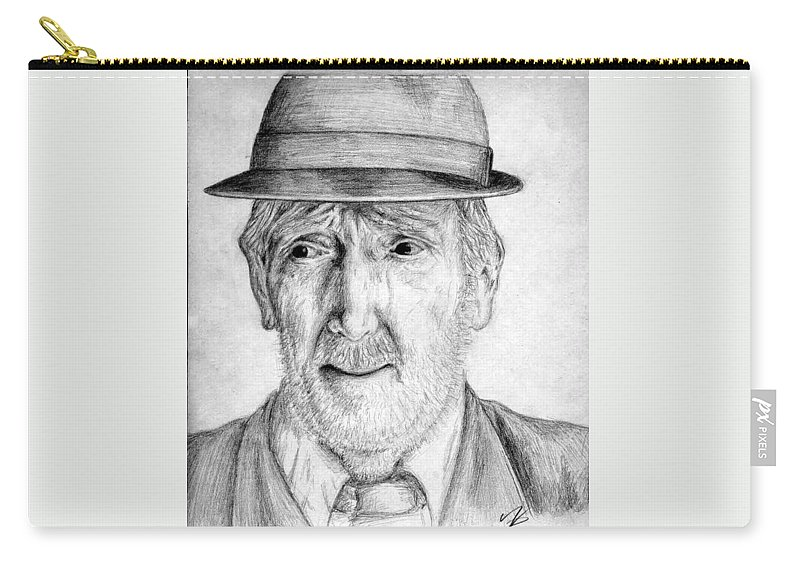 Man Carry-all Pouch featuring the drawing Old Man With Hat by Nicole Zeug