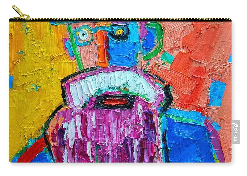 Expressionist Carry-all Pouch featuring the painting Old Man With Red Bowler Hat by Ana Maria Edulescu