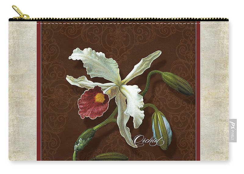 Old Masters Carry-all Pouch featuring the painting Old Masters Reimagined - Cattleya Orchid by Audrey Jeanne Roberts