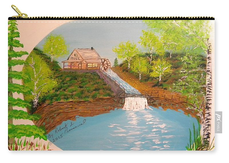 Old Mill Carry-all Pouch featuring the painting Old Mill And Falls by Robert Provencial