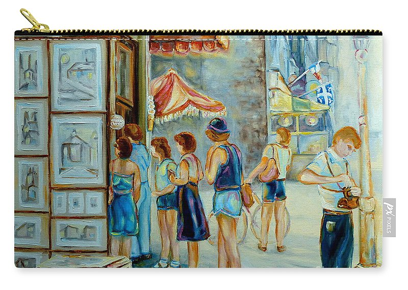 Old Montreal Street Scene Carry-all Pouch featuring the painting Old Montreal Street Scene by Carole Spandau