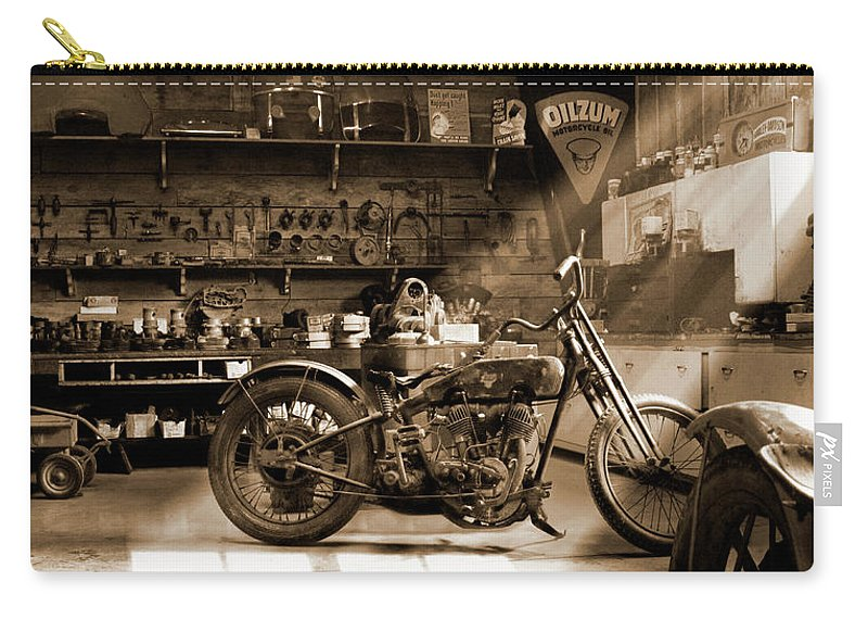 Motorcycle Carry-all Pouch featuring the photograph Old Motorcycle Shop by Mike McGlothlen