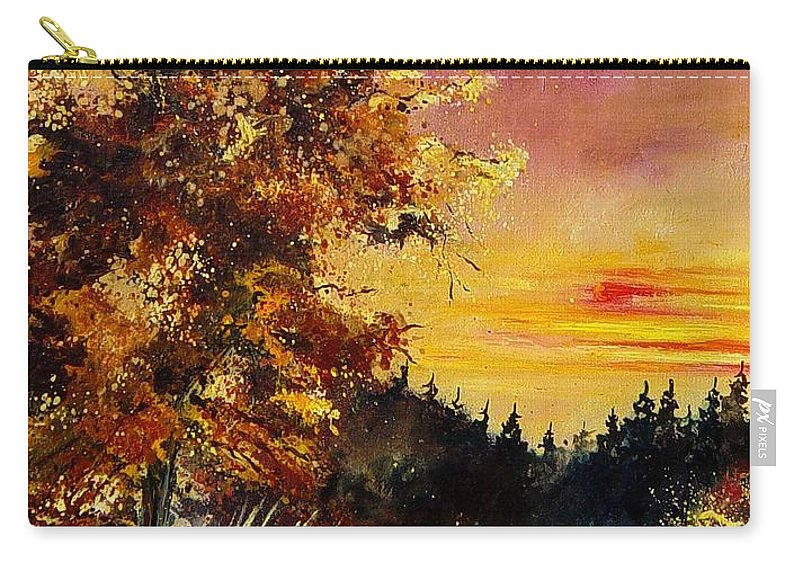 Landscape Carry-all Pouch featuring the painting Old Oak At Sunset by Pol Ledent