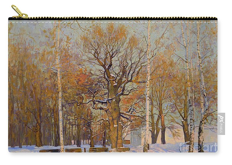 Landscape Carry-all Pouch featuring the painting Old Oak-tree In Kolomenskoye by Simon Kozhin