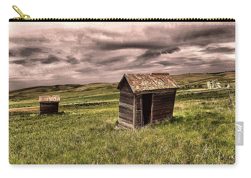 Outhouses Carry-all Pouch featuring the photograph Old Outhouses by Jeff Swan
