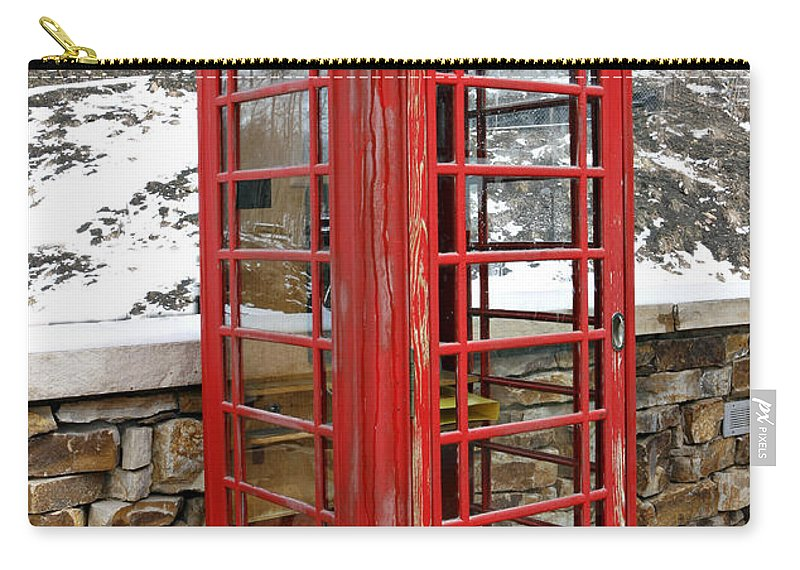 Communication Carry-all Pouch featuring the photograph Old Phone Booth by Marilyn Hunt