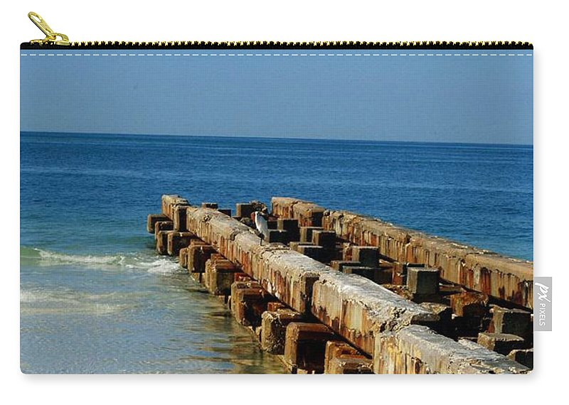 Pier Carry-all Pouch featuring the photograph Old Pier by Gary Wonning