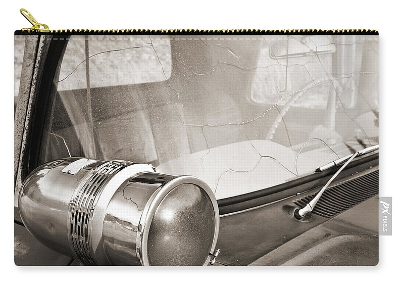 Americana Carry-all Pouch featuring the photograph Old Police Car Siren by Marilyn Hunt