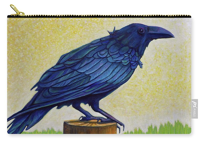 Raven Carry-all Pouch featuring the painting Old Priest In Passion by Brian Commerford