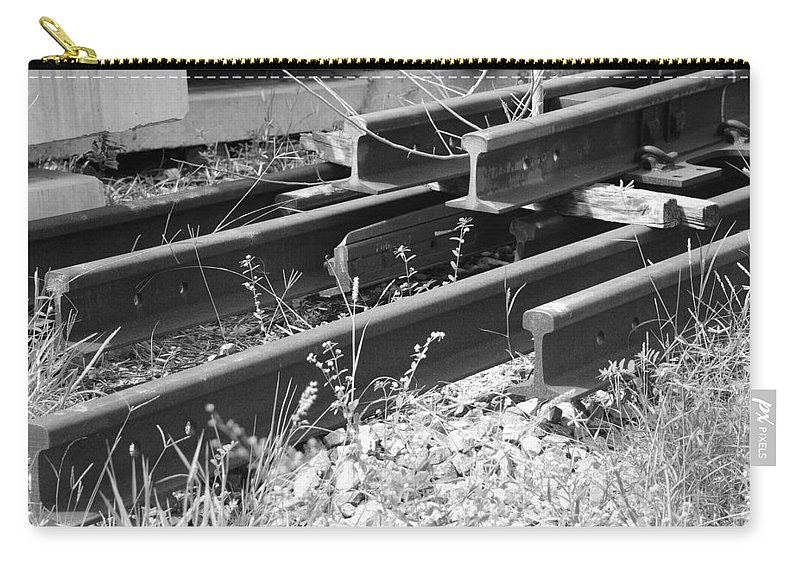 Black And White Carry-all Pouch featuring the photograph Old Rails by Rob Hans
