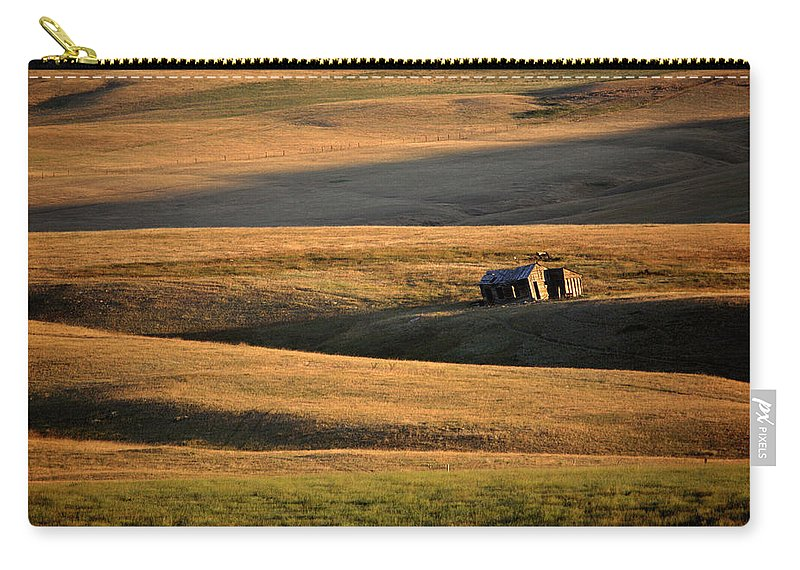 Foothills Carry-all Pouch featuring the digital art Old Ranch Buildings In Alberta by Mark Duffy