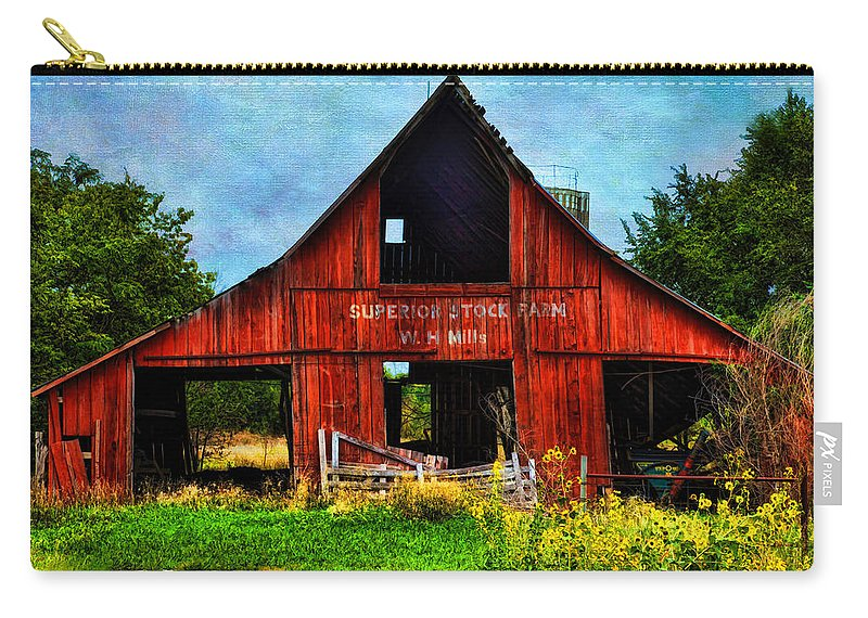 Architecture Carry-all Pouch featuring the photograph Old Red Barn And Wild Sunflowers by Anna Louise