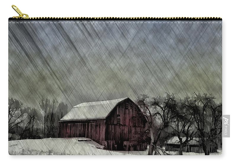 Red Carry-all Pouch featuring the photograph Old Red Barn In Winter by Bill Cannon