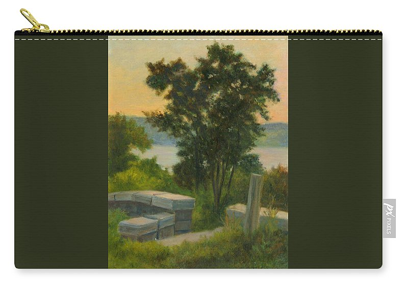 Landscape Carry-all Pouch featuring the painting Old Rock Wall by Phyllis Tarlow