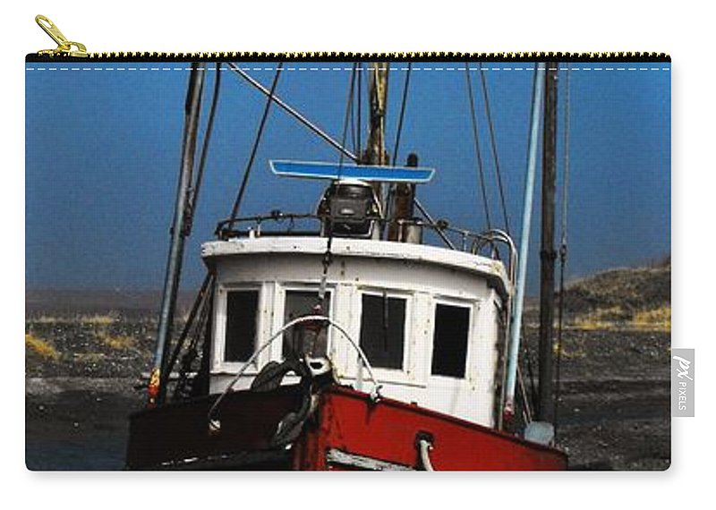 Homer Alaska Carry-all Pouch featuring the photograph Old Rustic Red Fishing Boat by Lori Mahaffey