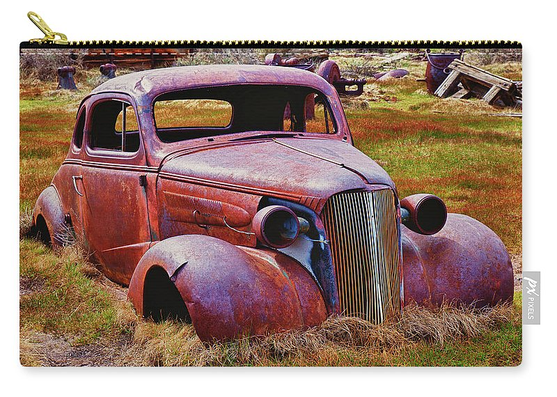 Car Carry-all Pouch featuring the photograph Old Rusty Car Bodie Ghost Town by Garry Gay