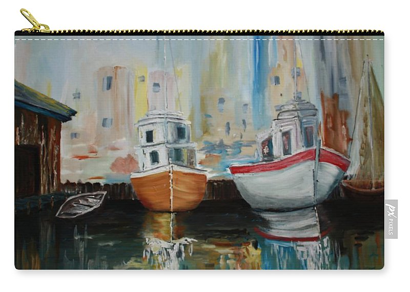 Ships At Dock Carry-all Pouch featuring the painting Old Ships At Dock by Rick Pettit