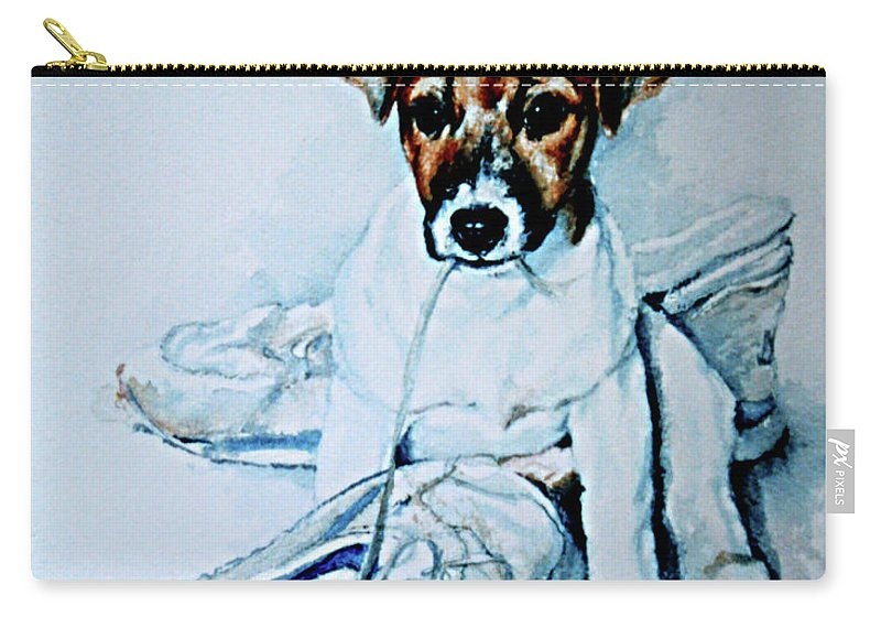 Puppy Portrait Carry-all Pouch featuring the painting Old Shoe Pup by Hanne Lore Koehler