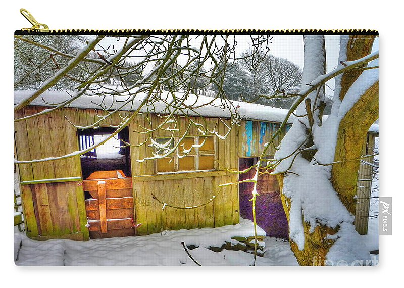 Old Barn Carry-all Pouch featuring the photograph Old Stable - Silent Winter by P Donovan