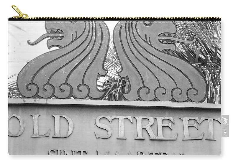 Old Street Sint Maarten Carry-all Pouch featuring the photograph Old Street Sint Maarten In Sepia by Margaret Bobb