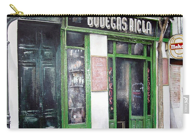 Bodegas Carry-all Pouch featuring the painting Old Tavern-madrid by Tomas Castano