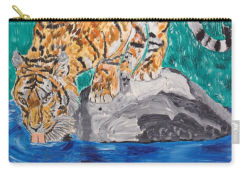 Cat Carry-all Pouch featuring the painting Old Tiger Drinking by Valerie Ornstein