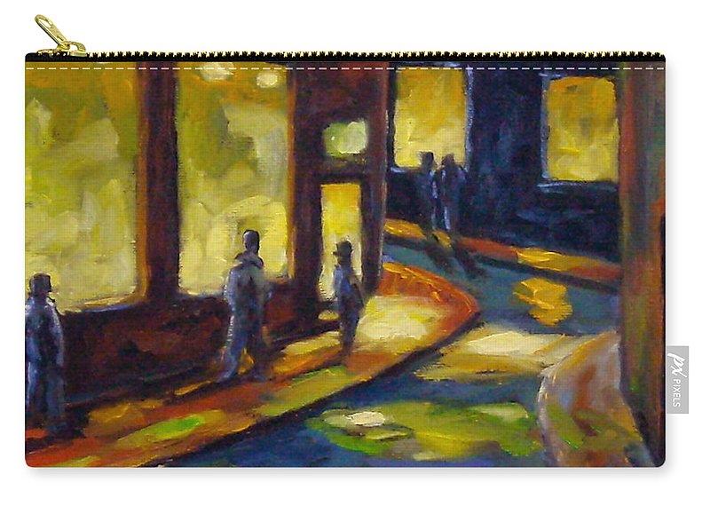 Urban; Scene; People; Night; Street; City; Scape; Love; Carry-all Pouch featuring the painting Old Town At Night by Richard T Pranke