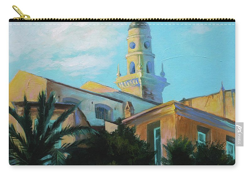 Lin Petershagen Carry-all Pouch featuring the painting Old Town Tower In Menton by Lin Petershagen