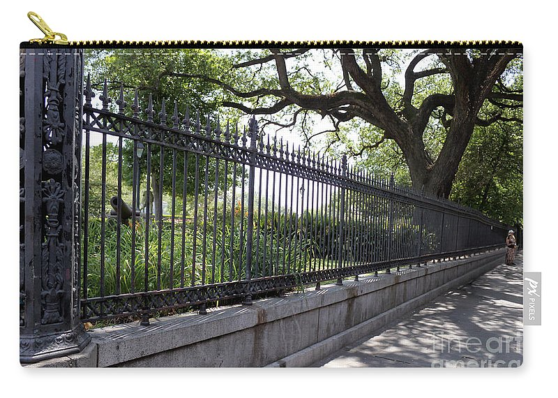 Landscape Carry-all Pouch featuring the photograph Old Tree And Ornate Fence by Todd Blanchard