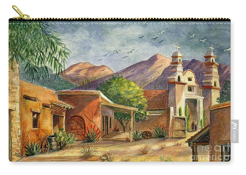 Old Tucson Carry-all Pouch featuring the painting Old Tucson by Marilyn Smith