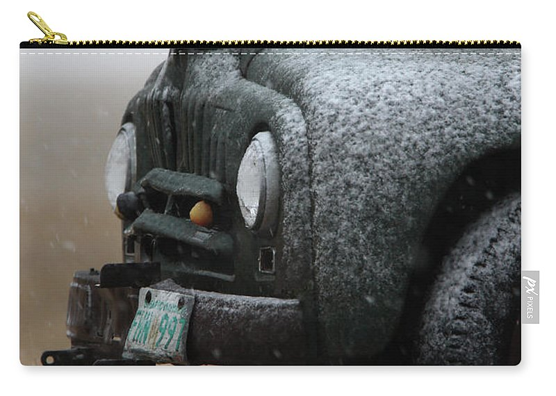Truck Carry-all Pouch featuring the digital art Old Vintage Truck In Winter Storm Saskatchewan by Mark Duffy