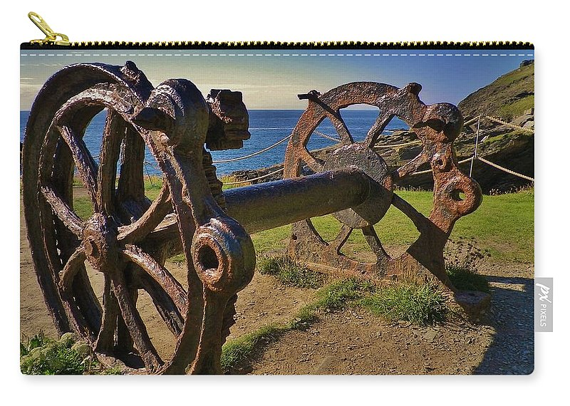 Winch Carry-all Pouch featuring the photograph Old Winch Tintagel by Richard Brookes