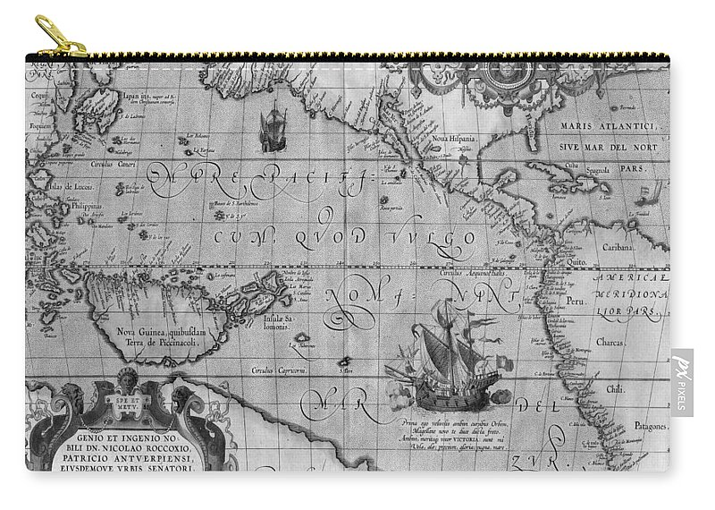 Old world map print from 1589 black and white carry all pouch for old world map carry all pouch featuring the drawing old world map print from 1589 gumiabroncs Choice Image