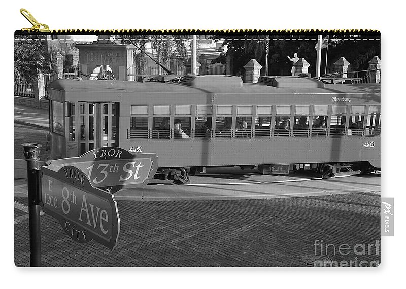 Ybor City Florida Carry-all Pouch featuring the photograph Old Ybor City Trolley by David Lee Thompson