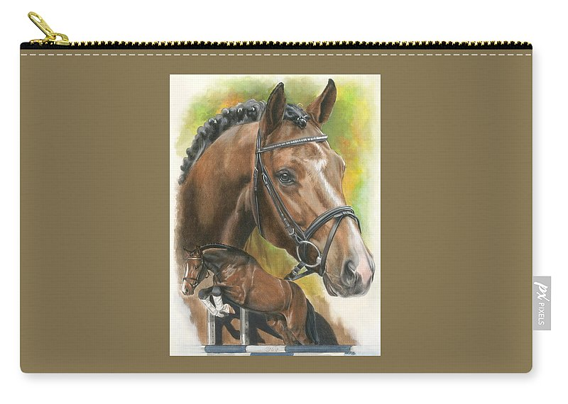 Hunter Jumper Carry-all Pouch featuring the mixed media Oldenberg by Barbara Keith