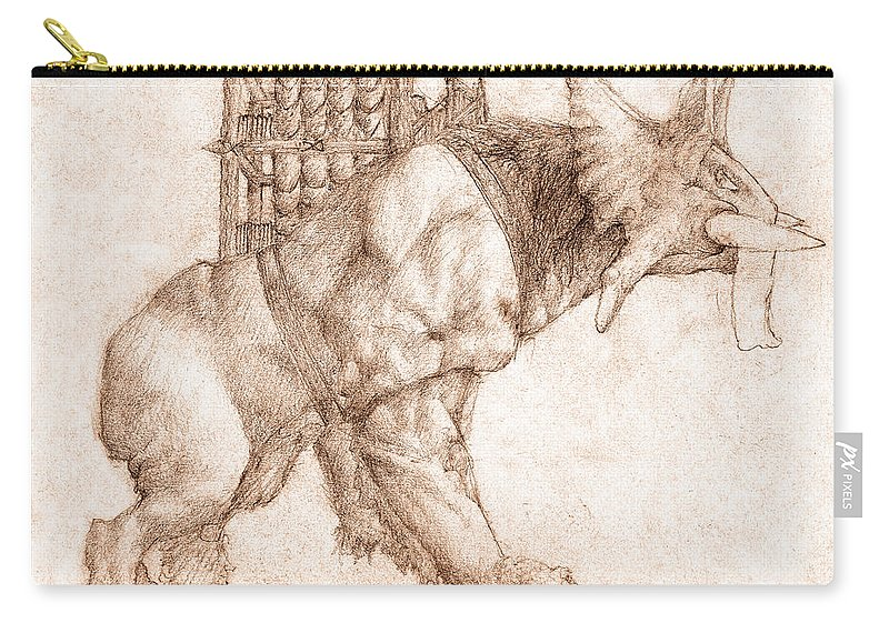 Lord Of The Rings Carry-all Pouch featuring the drawing Oliphaunt by Curtiss Shaffer