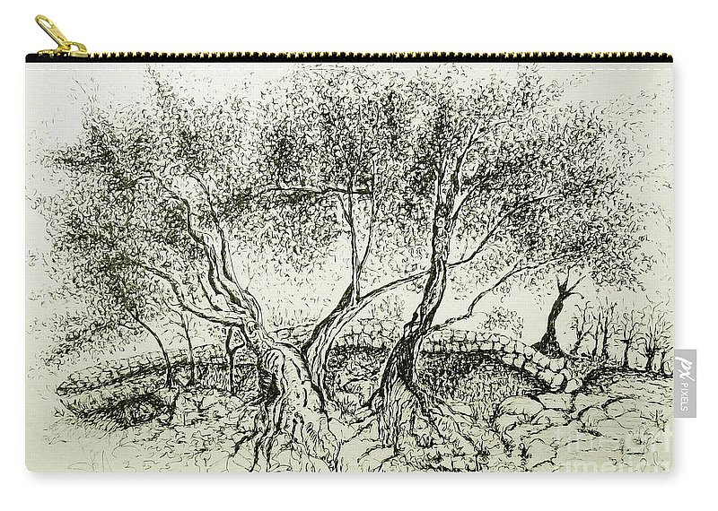 Olive Grove Carry-all Pouch featuring the drawing Olive Grove by Jasna Dragun