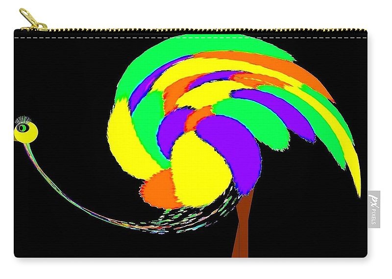 Abstract Carry-all Pouch featuring the digital art Olive The Ostrich by Will Borden