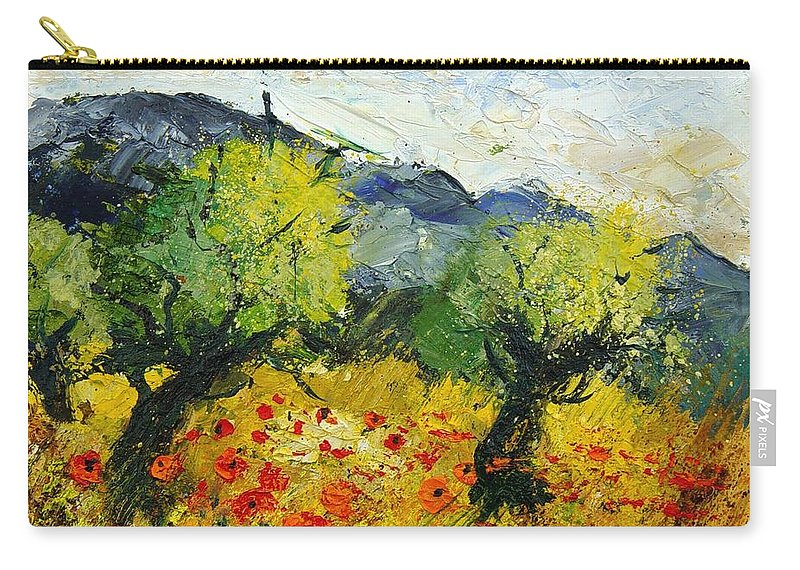 Flowers Carry-all Pouch featuring the painting Olive trees and poppies by Pol Ledent