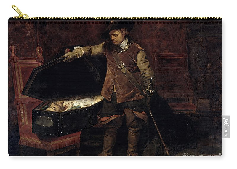 Oliver Carry-all Pouch featuring the painting Oliver Cromwell Opening The Coffin Of Charles I by Hippolyte Delaroche