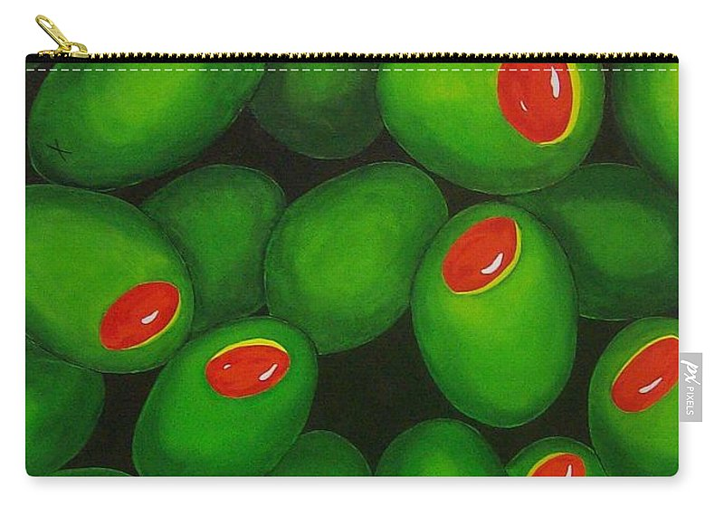 Olive Carry-all Pouch featuring the painting Olives by Micah Guenther