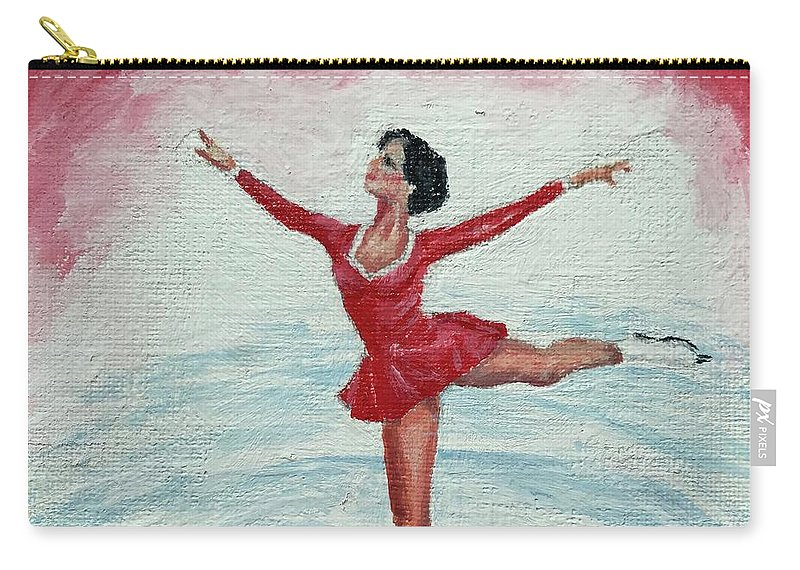 Red Carry-all Pouch featuring the painting Olympic Figure Skater by ML McCormick