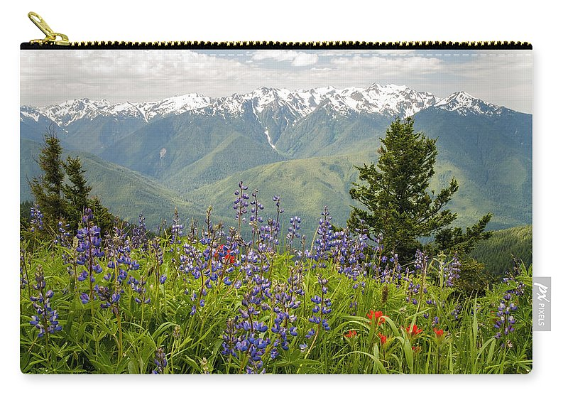 Olympic National Park Mountain Range Wildflower Landscape Seattle Washington Wa Carry-all Pouch featuring the photograph Olympic Mountain Wildflowers by Brian Harig
