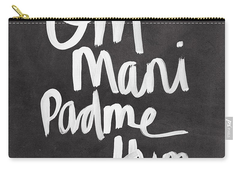 Zen Carry-all Pouch featuring the mixed media Om Mani Padme Hum by Linda Woods