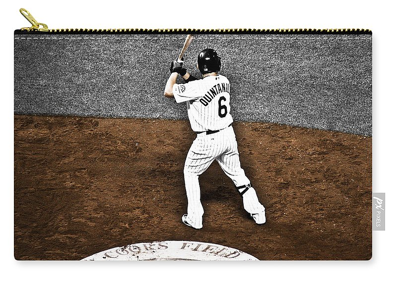 Baseball Carry-all Pouch featuring the photograph Omar Quintanilla Pro Baseball Player by Marilyn Hunt