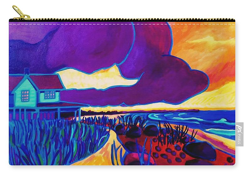 Beach Carry-all Pouch featuring the painting Ominous by Debra Bretton Robinson